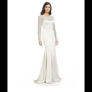 Theia mermaid gown beaded sleeve